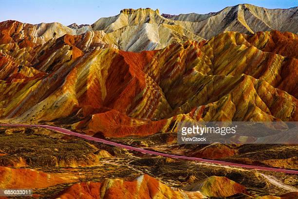 landscape of danxia, zhangye, gansu province, china - 丹霞地形 ストックフォトと画像