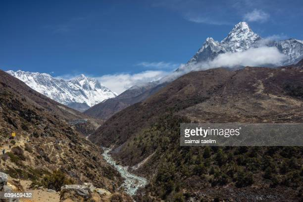 Landscape of Everest, Nuptse, Lhotse and Ama Dablam mountain peak, Everest region