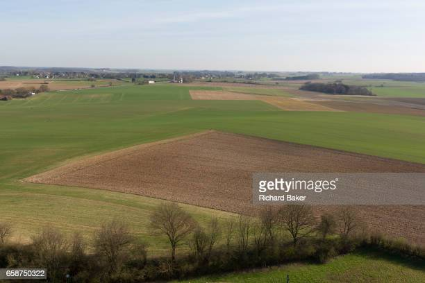 Landscape of fields and farming land looking in the direction of Napoleon's massed French lines during the Battle of Waterloo, on 25th March 2017, at...