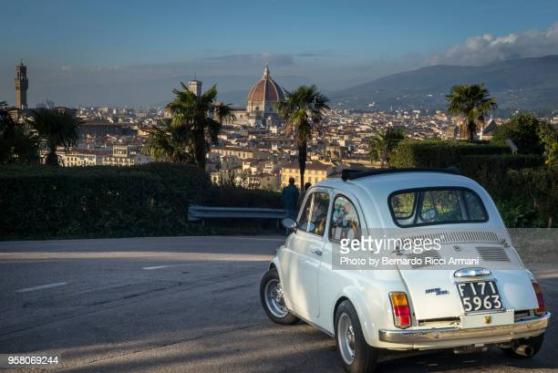 Landscape of Florence with old FIAT 500 car