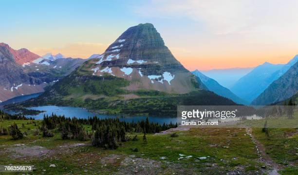 Landscape of Glacier National Park with Bearhat Mountain and Hidden Lake at sunset, Montana, USA