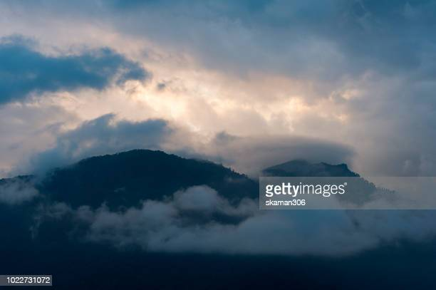 landscape of himalayas mountain range from trongsa city bhutan - royalty free images no watermark stock photos and pictures