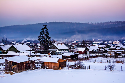 Landscape of houses in Siberia, Russia - gettyimageskorea