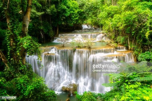 landscape of huay mae kamin waterfall - カンチャナブリ県 ストックフォトと画像