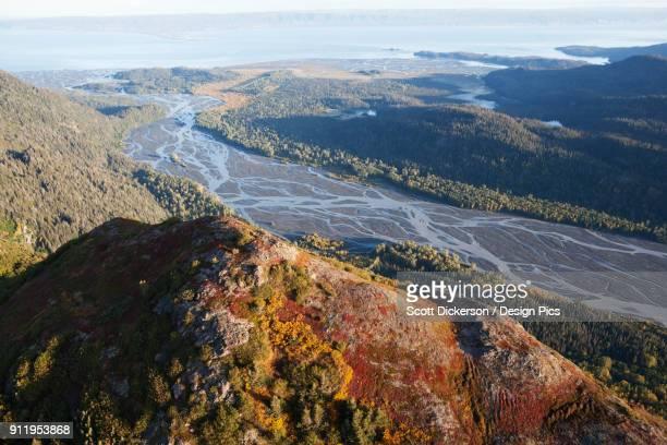 landscape of kenai mountains and kachemak bay, kachemak bay state park - kenai mountains stock pictures, royalty-free photos & images