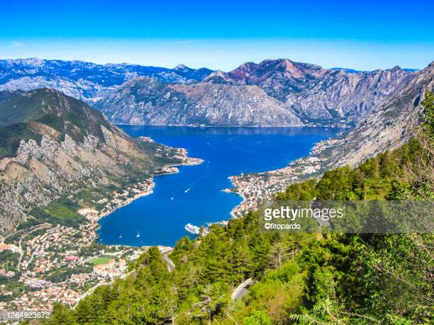 landscape of kotor bay and kotor city in montenegro - kotor bay stock pictures, royalty-free photos & images