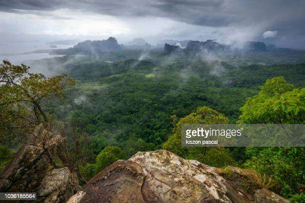landscape of krabi province in thailand during the rainy season . - rainy season stock pictures, royalty-free photos & images