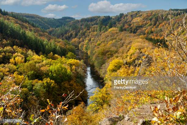 landscape of le herou, a spectacular cliff near the ourthe river in the ardennes forest of wallonia - belgium stock pictures, royalty-free photos & images