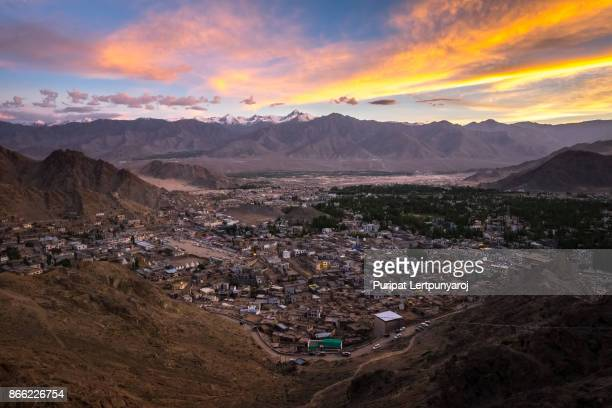 Landscape of Leh city and mountain around from Leh Monastery   Leh district, Ladakh, in the north Indian state of Jammu and Kashmir.
