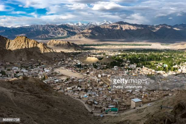 Landscape of Leh city and mountain around in Leh district, Ladakh, in the north Indian state of Jammu and Kashmir.