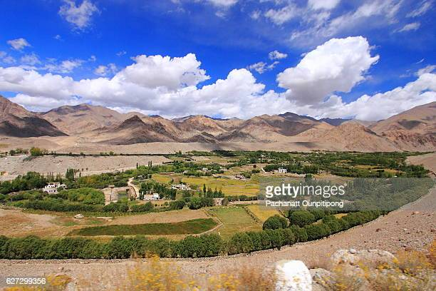 landscape of leh town, ladakh, india - kashmir valley stock photos and pictures