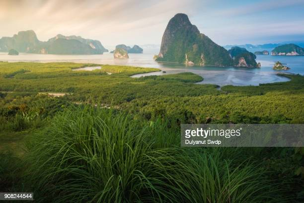 Landscape of limestone mountain in Phang nga bay ,Southern of Thailand