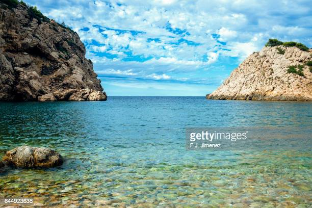 Landscape of Llentrisca beach in Ibiza