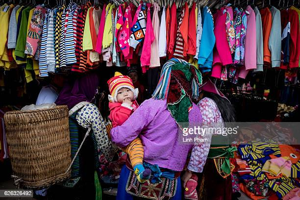 Landscape of Lung Tam a renowned traditional textile village in the mountainous province of Ha Giang on November 28 2016 in Ha Giang Vietnam Vietnam...