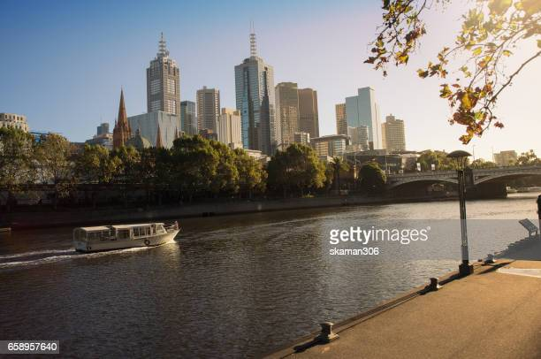 landscape of melbourne with yarra river in the night time from south bank area