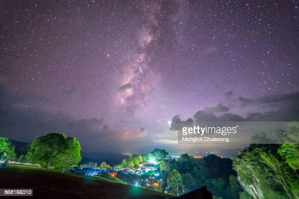 Landscape of milky way and star on dark sky at Pha Hua Singha at Doi Samer Daw, Night photography of milky way in Sri Nan national park, Nan Province, Thailand.