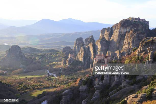 landscape of mountain monastery - meteora stock pictures, royalty-free photos & images