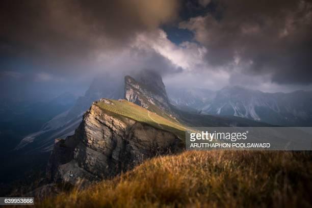 Landscape of mountain peak , seceda european alps dolomites Italy