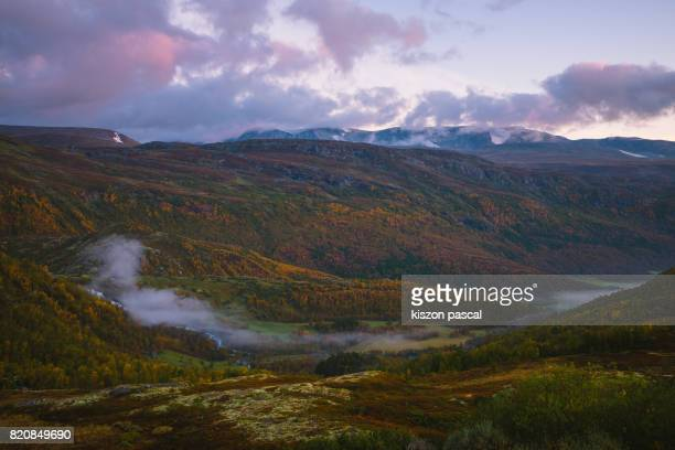 landscape of national park in central Norway in morning
