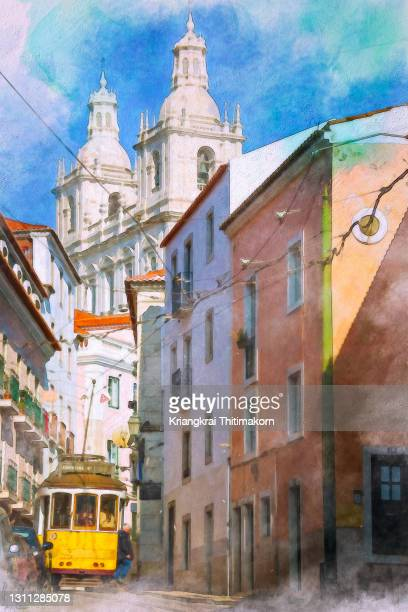 landscape of old town in lisbon city - traditionally portuguese stock pictures, royalty-free photos & images