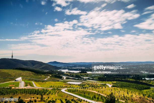 landscape of over canberra from national arboretum - australian capital territory stock pictures, royalty-free photos & images