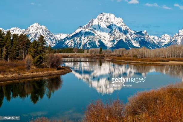 landscape of oxbow bend, grand teton national park, wyoming, usa - grand teton national park stock pictures, royalty-free photos & images