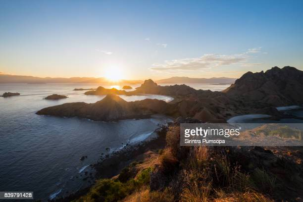 Landscape of Padar Island during sunset with dramatic sky in the Komodo National Park, East Nusa Tenggara, Labuan Bajo, Indonesia