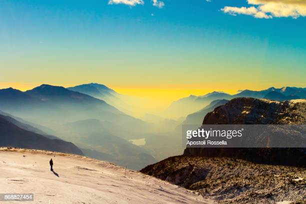 landscape of Paganella peak, dolomites in winter