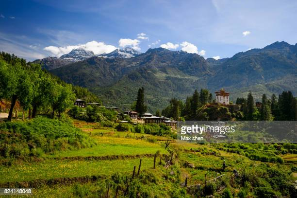 landscape of paro valley in bhutan - paro stock photos and pictures