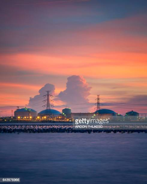 Landscape of Petrochemical oil plant at sunset