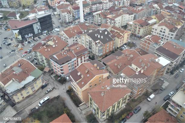 A landscape of residential buildings is seen during a cable car ride on the line between Yenimahalle and Sentepe districts in Ankara Turkey on...