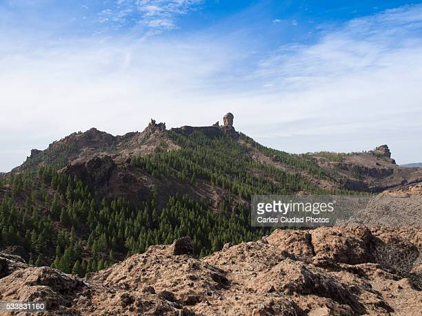 landscape of roque nublo, gran canaria (spain) - tejeda canary islands stock pictures, royalty-free photos & images