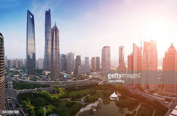 Landscape of Shanghai city skyline in sunset
