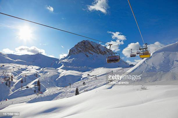 A landscape of ski slopes during the day