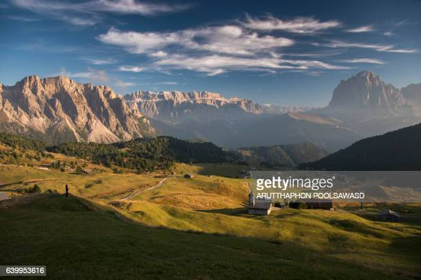 Landscape of Small village on european alps dolomites Italy