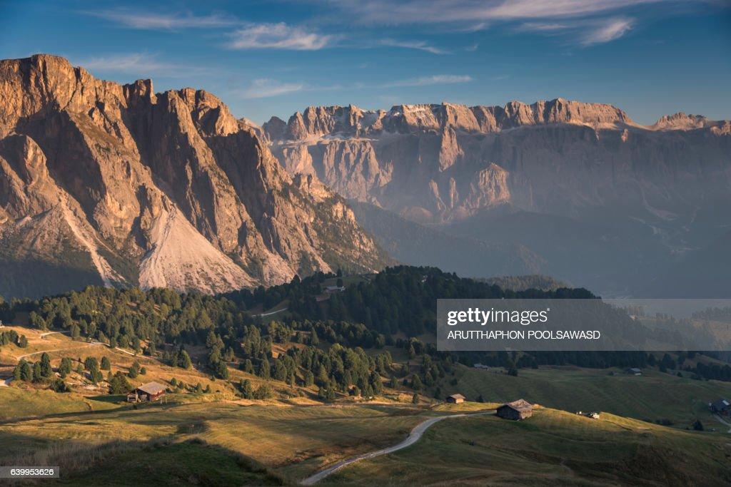 Landscape of Small village on european alps dolomites Italy : ストックフォト