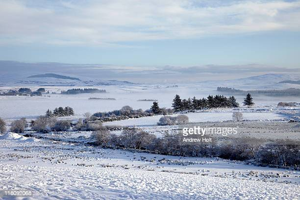 Landscape of Sperrin mountains in winter snow