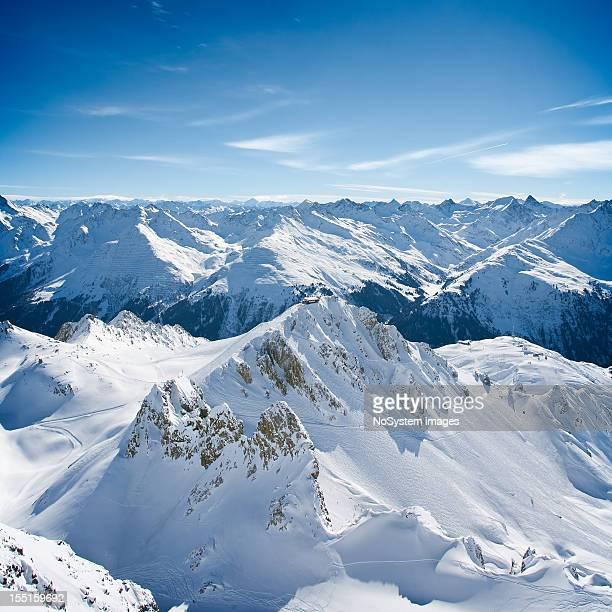 landscape of st. anton am arlberg ski area peaks - vorarlberg stock photos and pictures