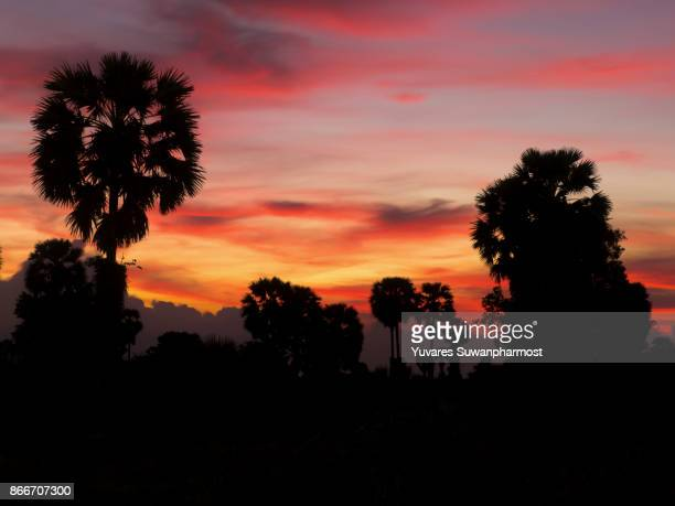 Landscape of Sunrise at Pattalung,Thailand. Silhouette.