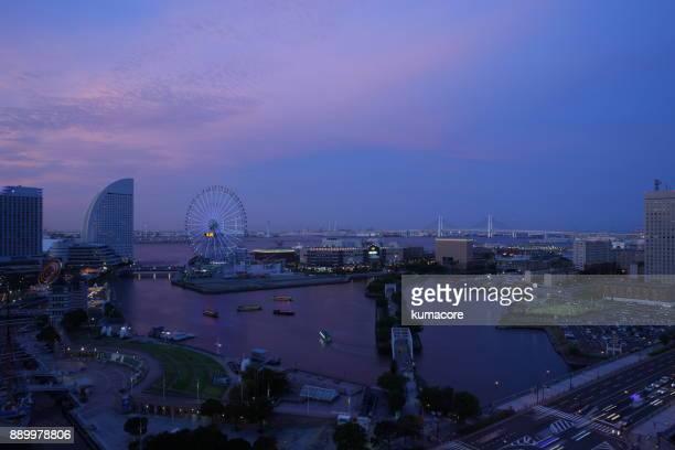 Landscape of sunset harbor