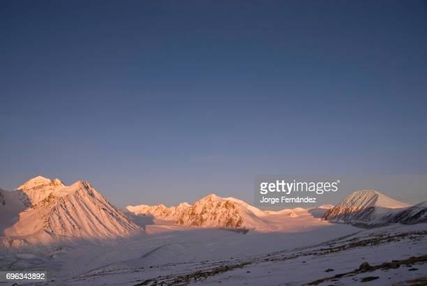 Landscape of the Altai Tavan Bogd National Park in Western Mongolia at sunrise