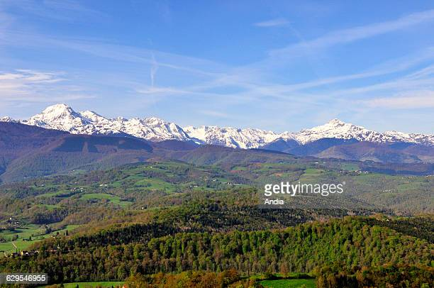 Landscape of the Baronnies region viewed from the village of Mauvezin wooded and hilly landscape with the Pyrenees mountain range on the Way of St...