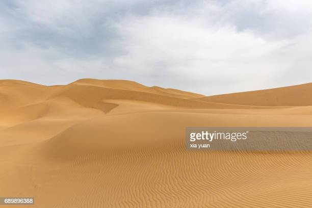 Landscape of the desert and the wind pattern on sand dunes