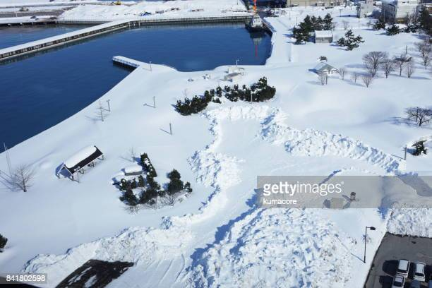 landscape of the harbor with snow - aomori prefecture stock pictures, royalty-free photos & images