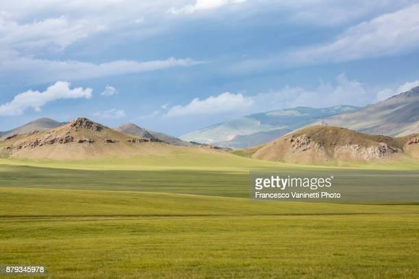 Landscape of the Mongolian steppe. Ovorkhangai province, Mongolia.