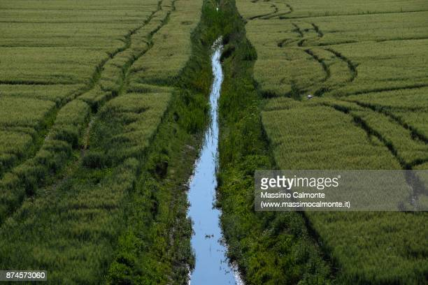 landscape of the polesine countryside near the po delta - fiume po foto e immagini stock