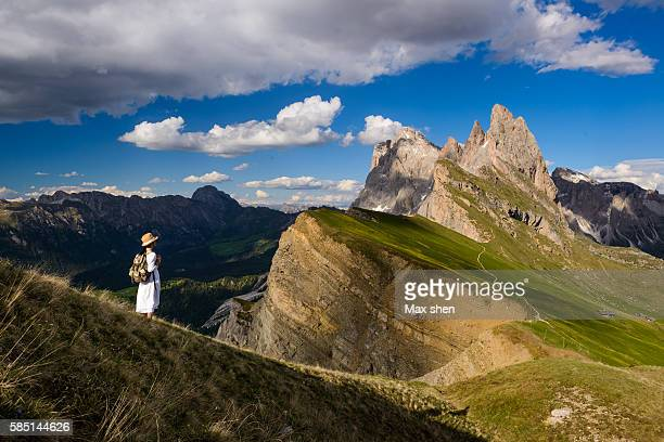 Landscape of the Seceda summit in Ortisei, Dolomiti, Italy.