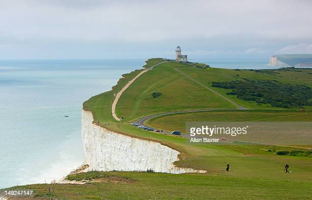 landscape of the south downs - beachy head stock photos and pictures