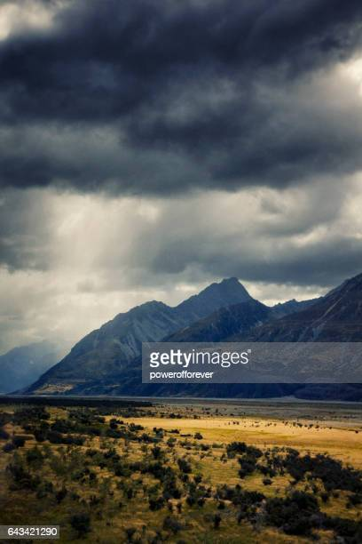 Landscape of the Southern Alps in New Zealand