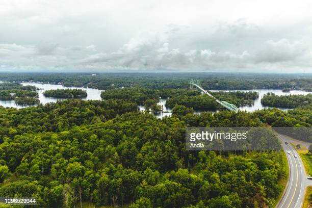 Landscape of the Thousand Islands archipelago, St. Lawrence River, along the northern border between the United States and Canada, here close to...